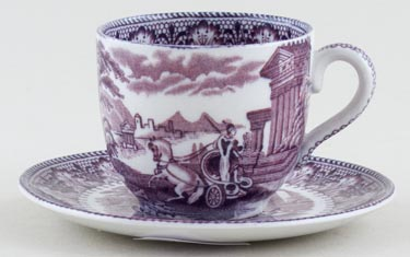 Cauldon Chariot mulberry Coffee Cup and Saucer c1930