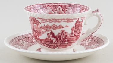 Cauldon Chariot red Teacup and Saucer c1950s