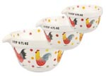 Queens Alex Clark Rooster colour Measuring Cups Set of Three