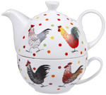 Queens Alex Clark Rooster colour Tea for One Set