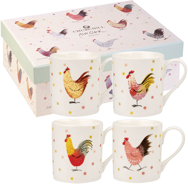 Queens Alex Clark Rooster colour Mug Set of 4