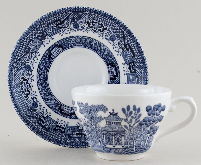 Churchill Blue Willow Teacup and Saucer