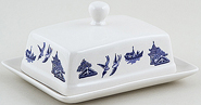 Churchill Blue Willow Butter Dish