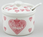 Queens Made with Love pink Jam or Preserve Pot with Spoon