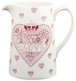 Queens Made with Love pink Jug or Pitcher Tankard medium