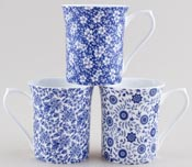 Queens Blue Story Mugs set of 3 Apple Blossom, Udai Palace and Victorian Chintz White