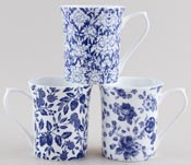 Queens Blue Story Mugs set of 3 Ava, Calais and Tiverton White