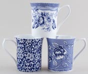 Queens Blue Story Mugs set of 3 Albertine, Tonquin and Victorian Calico