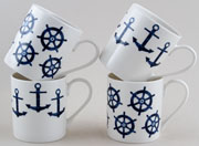 Queens Sieni Mugs Nautical set of 4