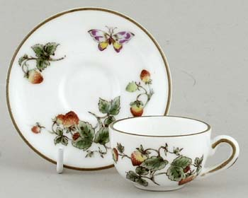 Coalport Strawberry colour Miniature Cup and Saucer
