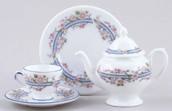 Coalport Unidentified Pattern colour Miniature Teapot, Plate and Cup and Saucer c1980s
