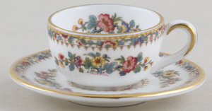Coalport Ming Rose colour Miniature Cup and Saucer c1970s