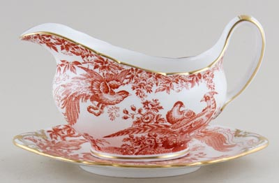 Royal Crown Derby Red Aves Sauce Boat with Stand c1970s