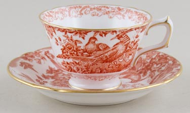 Royal Crown Derby Red Aves Teacup and Saucer c1970s