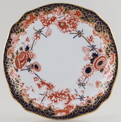Royal Crown Derby Scissor colour Bread and Butter Plate c1907
