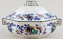 Royal Doulton Nankin blue with colour Vegetable Dish with Cover c1920