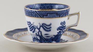 Royal Doulton Real Old Willow Coffee Cup and Saucer c1980s