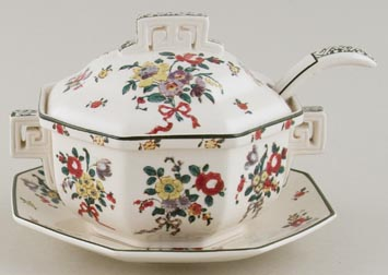Royal Doulton Old Leeds Sprays colour Sauce Tureen c1930s