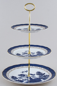 Royal Doulton Real Old Willow Cake Stand 3 tier c1980s