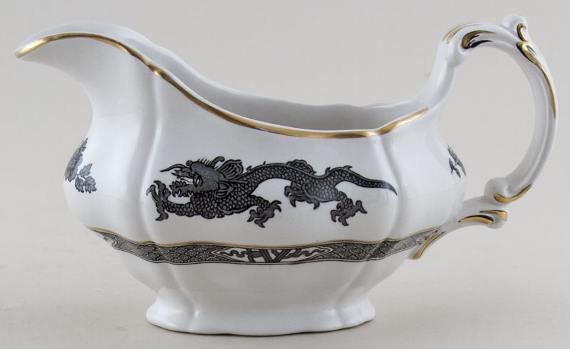 Booths Dragon black Sauce Boat c1950s