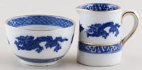 Cauldon Dragon Jug or Creamer and Sugar Bowl small c1930s