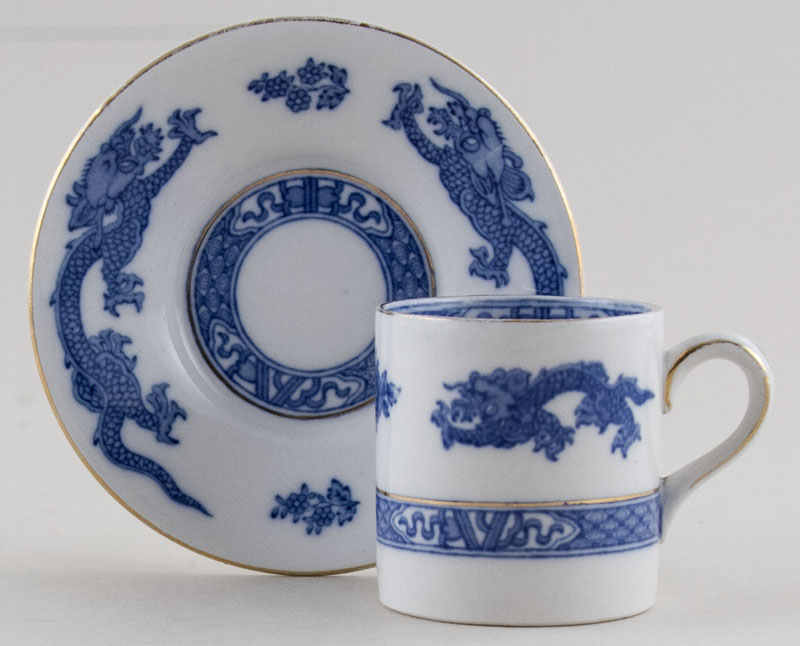 Cauldon Dragon Coffee Can and Saucer c1931