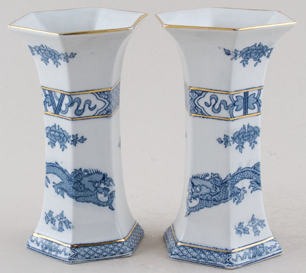 Harley Jones Dragon Vases Pair of hexagonal  c1930s