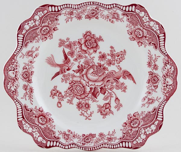 Crown Ducal Bristol pink Bread & Butter or Cake Plate c1960