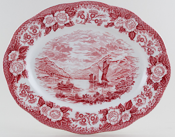 Wedgwood and Co Lochs of Scotland pink Meat Dish or Platter c1970s