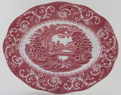Wedgwood and Co River Scene pink Meat Dish or Platter c1960s