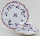 Ford Unidentified Pattern colour Cup, Saucer and Plate c1900