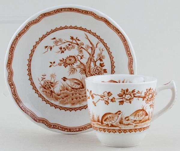 Furnivals Quail brown Coffee Cup and Saucer