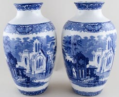 Jones George Abbey Vases pair of large c1920s