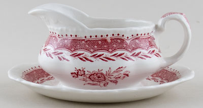 Grindley Stratford pink Sauce Boat on Fixed Stand c1930s