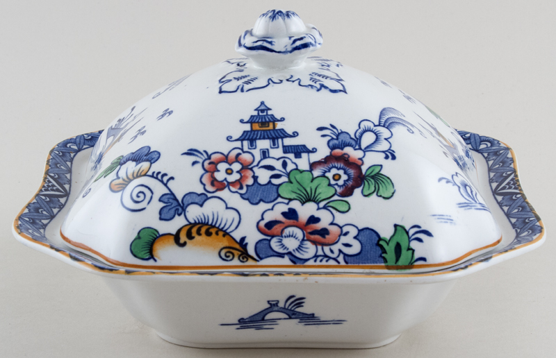 Hales Hancock and Godwin Japonica blue with colour Vegetable Dish with Cover c1920s