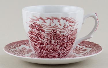 Hostess Tableware Olde Country Castles pink Teacup and Saucer c1970s