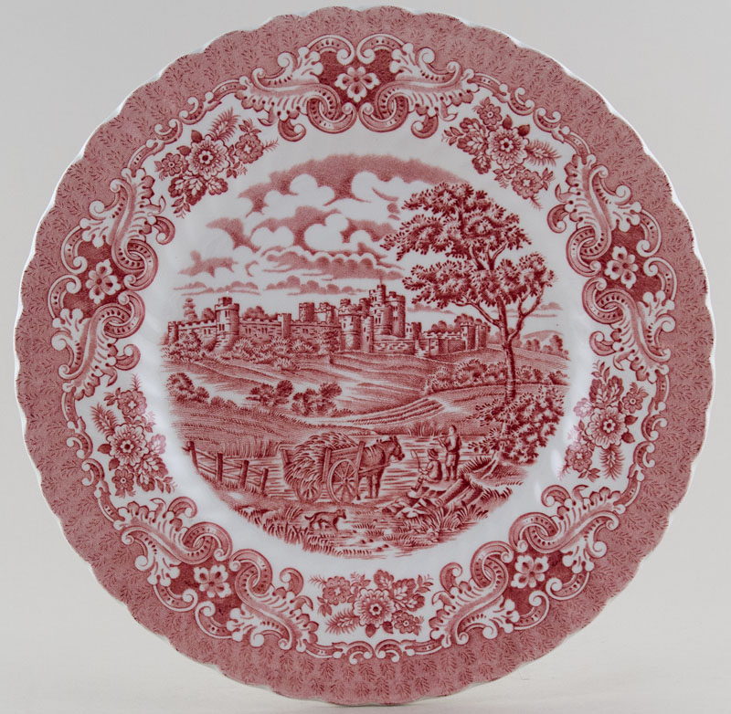 Hostess Tableware Olde Country Castles pink Plate c1970s