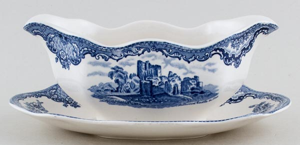 Johnson Bros Old Britain Castles Sauce Boat with Fixed Stand Saltwood Castle c1950s
