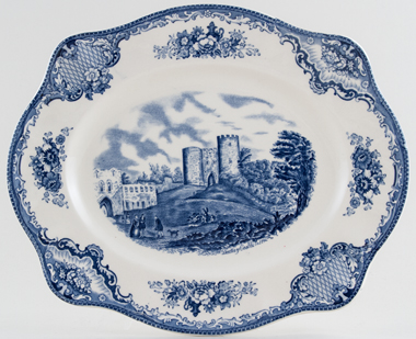 Johnson Bros Old Britain Castles Meat Dish or Platter Dudley Castle c1950s