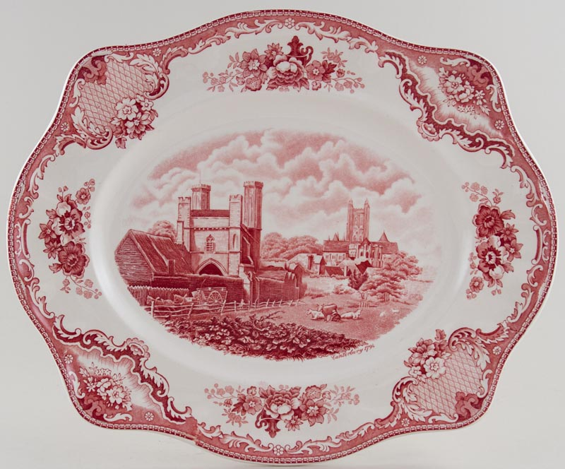 Johnson Bros Old Britain Castles pink Meat Dish or Platter Canterbury