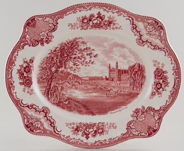 Johnson Bros Old Britain Castles pink Meat Dish or Platter Cambridge c1950s