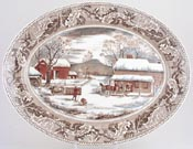 Meat Dish or Platter Home for Thanksgiving c1950s