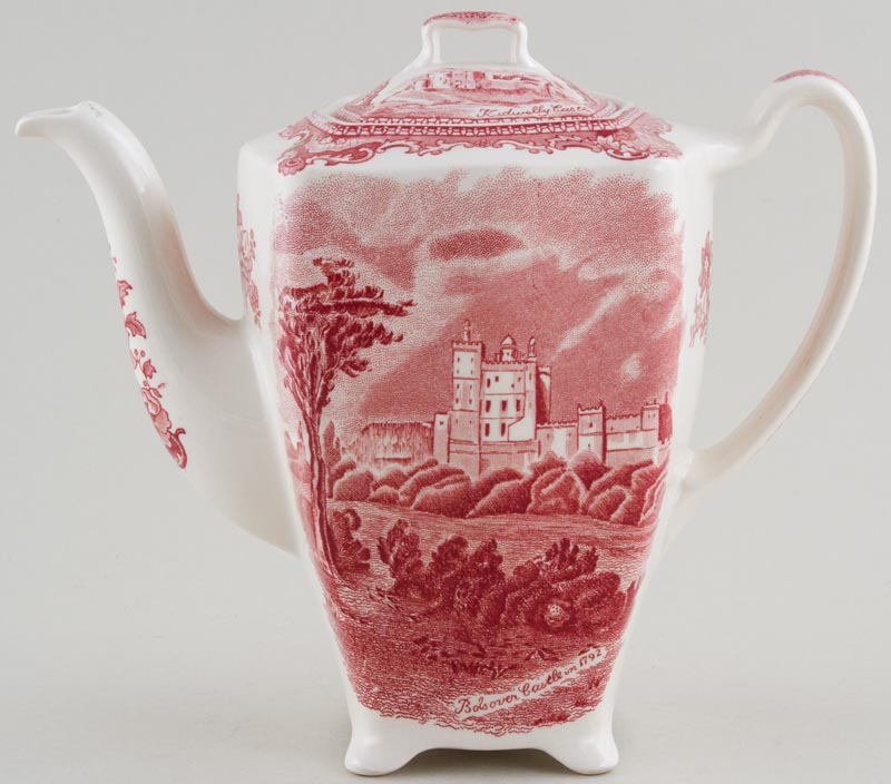Johnson Bros Old Britain Castles pink Coffee Pot Bolsover & Kidwelly c1950s