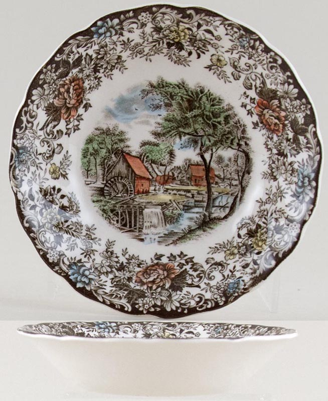 Johnson Bros Mill Stream brown with colour Fruit Saucer