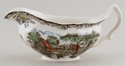 Johnson Bros Mill Stream brown with colour Sauce Boat c1970