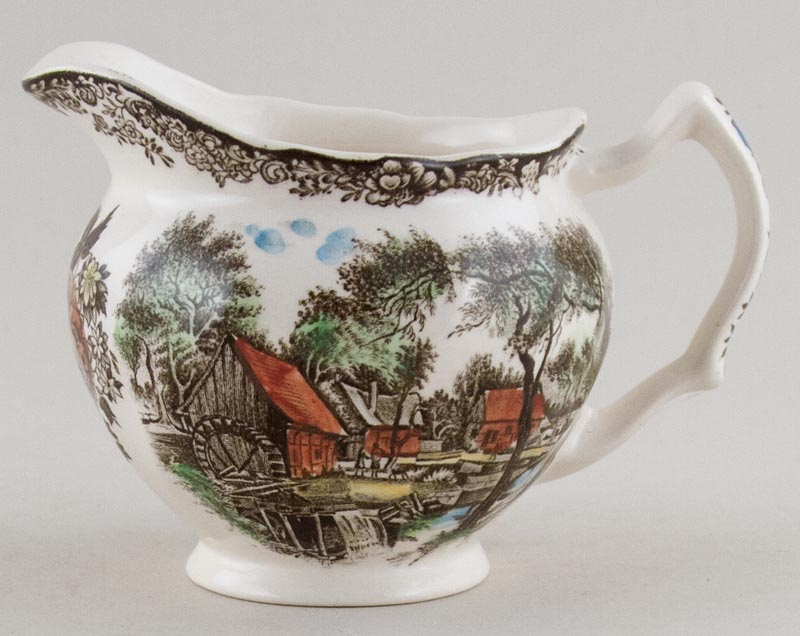 Johnson Bros Mill Stream brown with colour Creamer or Jug c1970