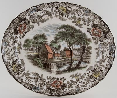 Johnson Bros Mill Stream brown with colour Meat Dish or Platter c1970
