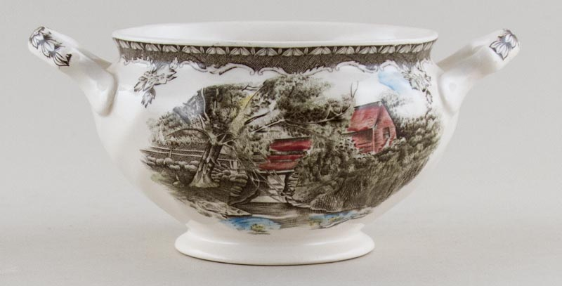 Johnson Bros The Friendly Village brown with colour Sugar Bowl The Lily Pond c1970