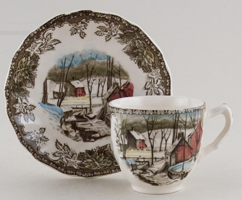Johnson Bros The Friendly Village brown with colour Coffee Cup and Saucer The Ice House c1970