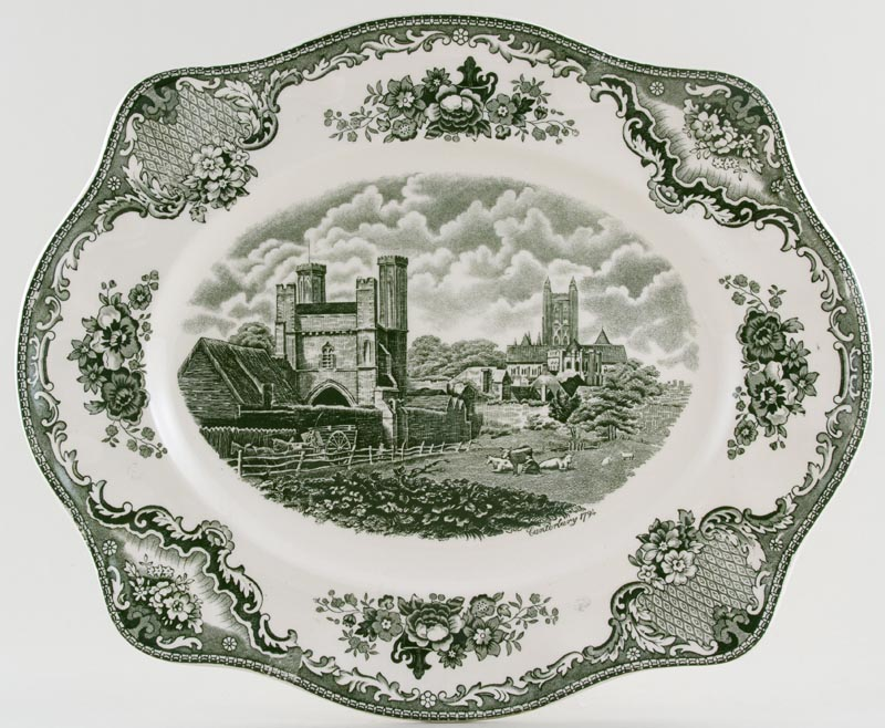 Johnson Bros Old Britain Castles green Meat Dish or Platter Canterbury c1950s